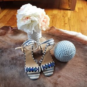 Express Blue & White Striped Jewel Sandals